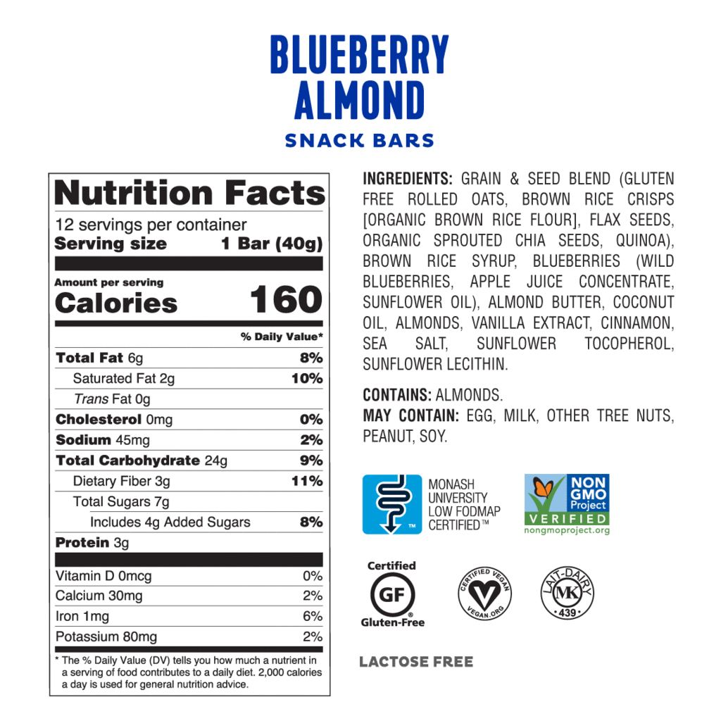Low FODMAP Blueberry Almond Snack Bars Box of 4 Lactose & Gluten Free