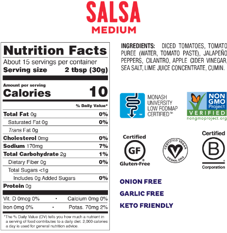 Low FODMAP Medium Salsa Gluten Free