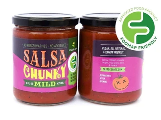 Low FODMAP Certified Salsa - No Onion No Garlic, Low Sodium, Gut Friendly, Artisan, Mild, Chunky