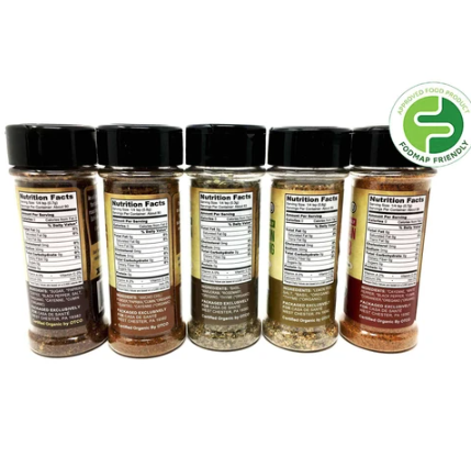 Organic Low FODMAP Spice Mixes - No Onion No Garlic, Gluten Free, No Carb, Keto, Paleo, Kosher, Starter 5 Pack