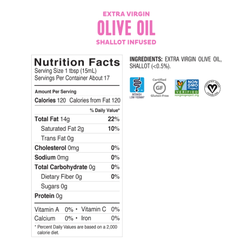 Low FODMAP Shallot Infused Olive Oil Extra-Virgin, Non-GMO, Made in Italy