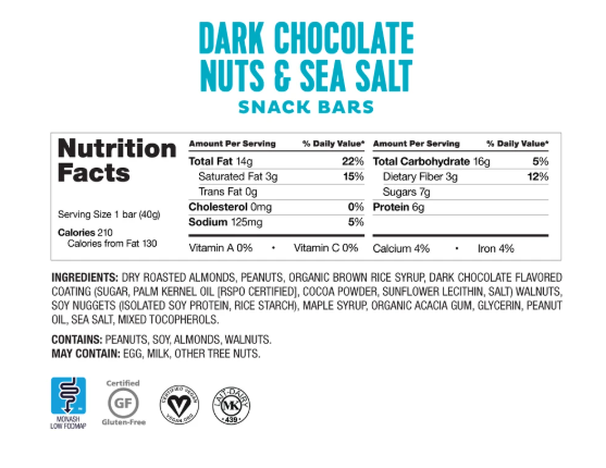 Low FODMAP Dark Chocolate Nuts & Sea Salt Bars Box of 4 Lactose & Gluten Free
