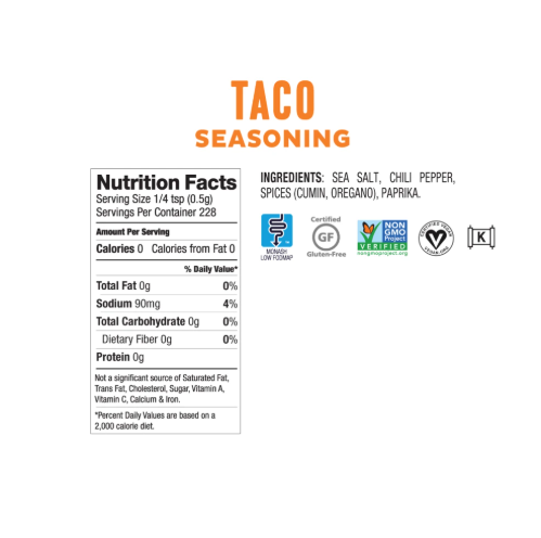 Low FODMAP Taco Seasoning Onion, Garlic & Gluten Free