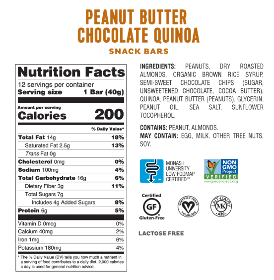 Low FODMAP Peanut Butter Chocolate Quinoa Bars Box of 4 Lactose & Gluten Free