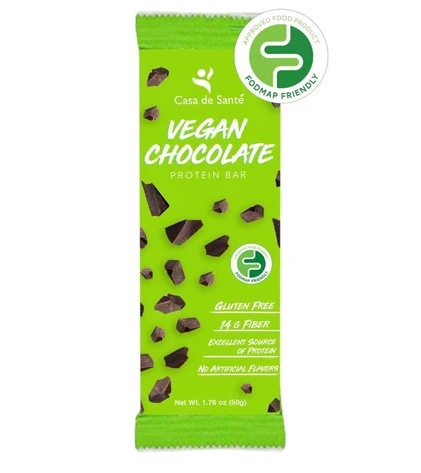 Low FODMAP Vegan Protein Prebiotic Snack Bar – Gluten/Dairy/Soy Free, Paleo, Keto, Low Carb, Resistant Starch & Soluble Fiber, (Chocolate, 12 Bars)