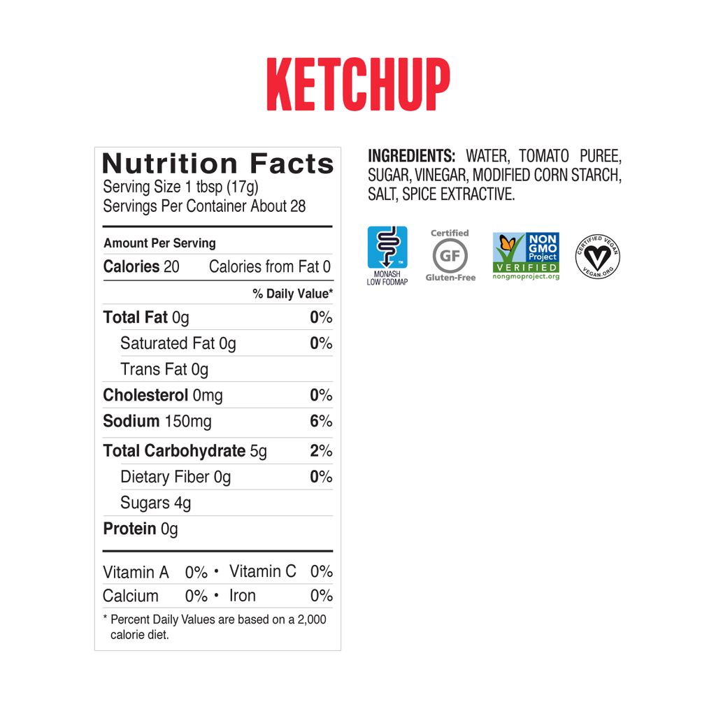 Low FODMAP Ketchup 3-Pack Onion, Garlic & Gluten Free