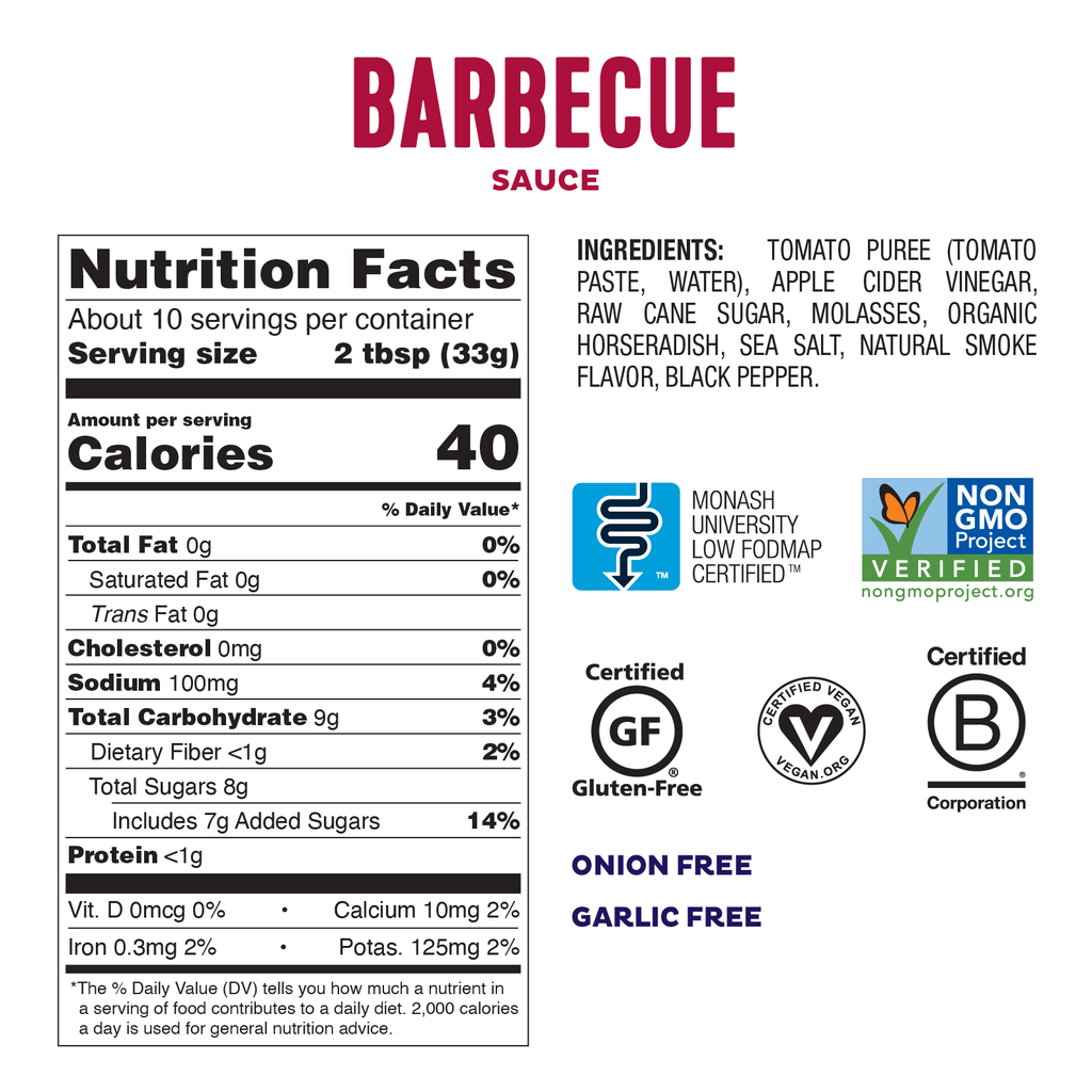 Low FODMAP BBQ Sauce 6-Pack Onion & Gluten Free