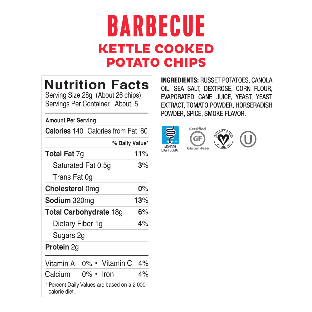 Low FODMAP Kettle-Cooked BBQ Chips Onion, Garlic & Gluten-Free