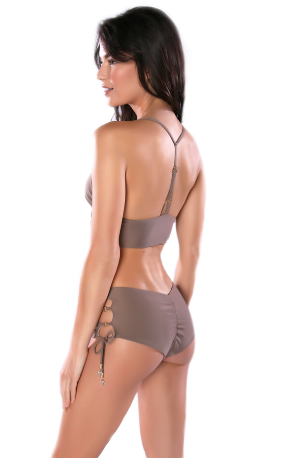 High-waisted taupe bikini bottoms by Swimspiration embellished with Aqua Chalcedony and Moonstone