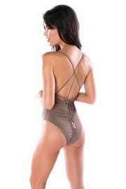 Taupe one-piece swimsuit by Swimspiration embellished with Aqua Chalcedony and Moonstone