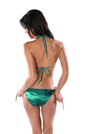 Green Malachite print trikini bikini bottom by Swimspiration embellished with Red Coral and Amazonite.