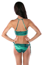 Green Malachite print halter bikini top by Swimspiration embellished with Red Coral and Amazonite.