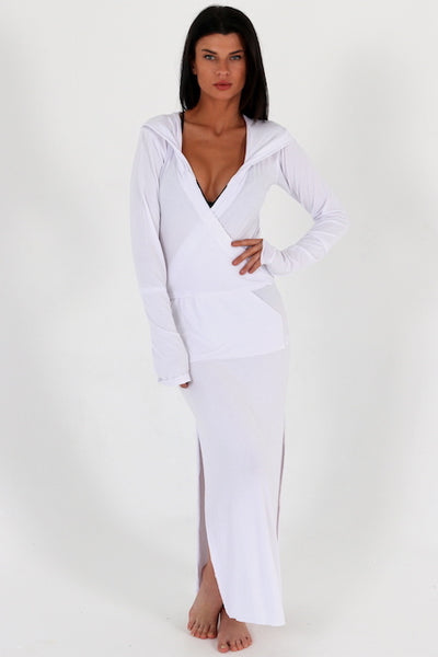 Full length long sleeve hooded beach coverup by Swimspiration.