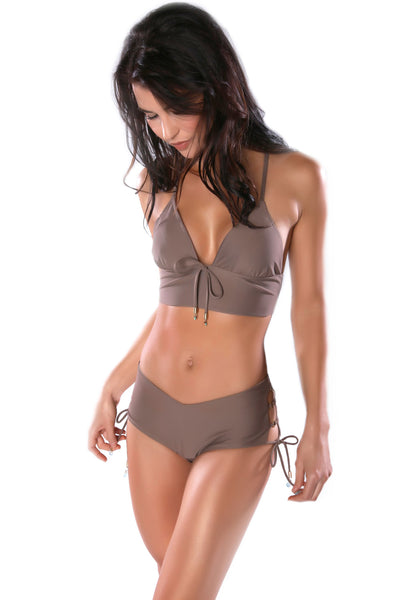 High-waisted taupe bikini bottoms by Swimspiration embellished with Aqua Chalcedony and Moonstone.