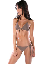 Taupe trikini top by Swimspiration embellished with Aqua Chalcedony and Moonstone