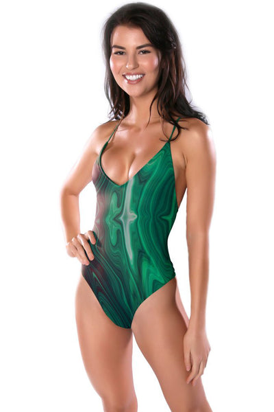 Green Malachite print Maillot One-Piece swimsuit by Swimspiration embellished with Red Coral and Amazonite.