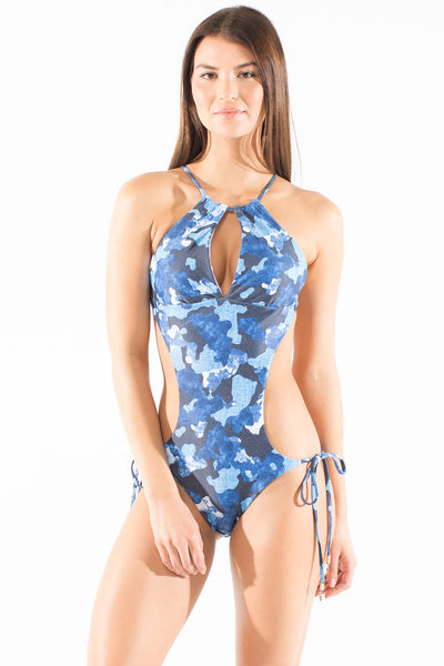 Blue camo onepiece swimsuit by Swimspiration embellished with Orange Carneilian and Lapis.