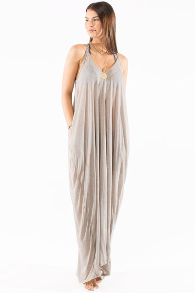 Taupe full length resort wear dress by Swimspiration.