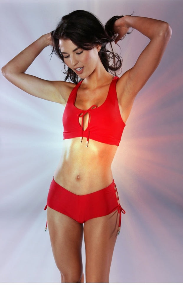 Red sporty bikini top by Swimspiration embellished with Turquoise and Smoky Quartz.