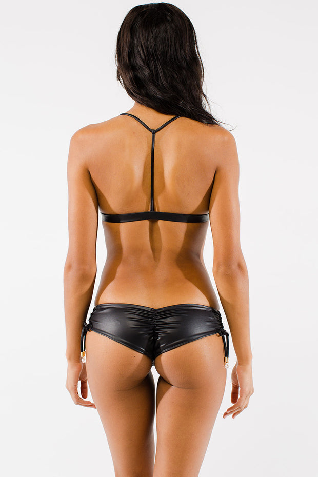 Black T-back bikini Top by Swimspiration embellished with pearl and clear Swarovski crystal.