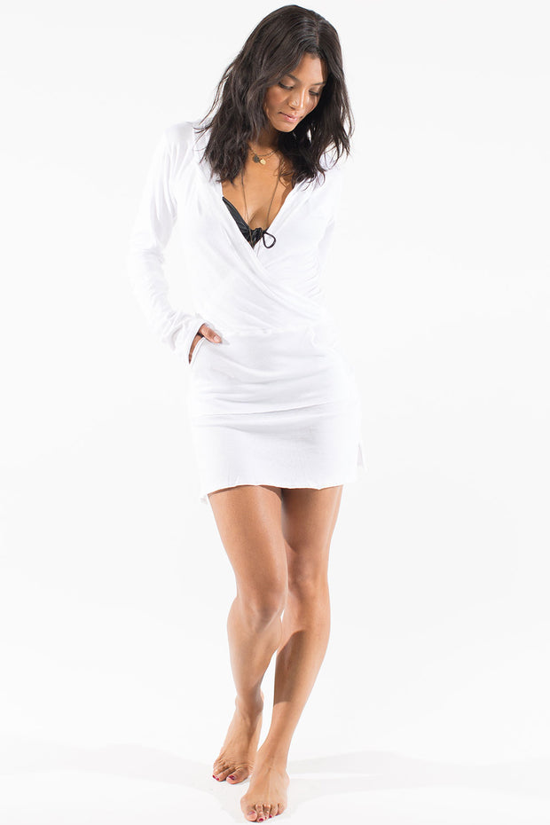 White short hooded tunic beach cover up by Swimspiration.