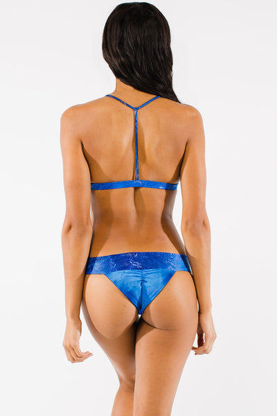 Blue wide band bikini bottoms by Swimspiration embellished with Lapis and Moonstone.