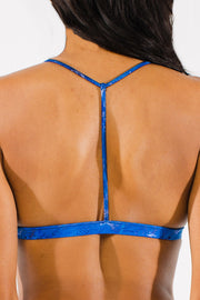 Blue T-back bikini top by Swimspiration embellished with Lapis and Moonstone.