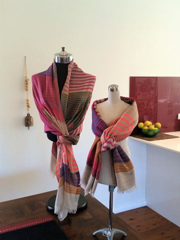 Peach Tan Multi Merino Wool Pashmina