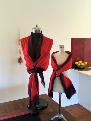 Red Border Merino Wool Pashmina