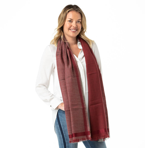 4 Shades Of Maroon Merino Wool Shawl - Opal Merino
