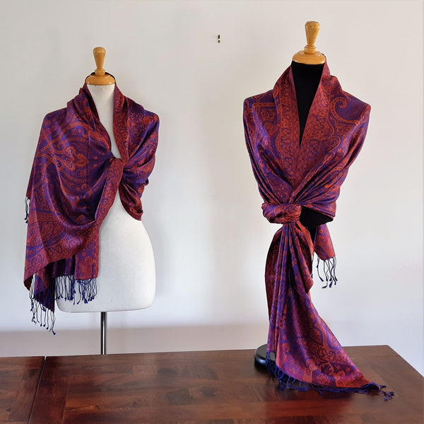 Antique Violet Pure Silk Shawl - Opal Merino