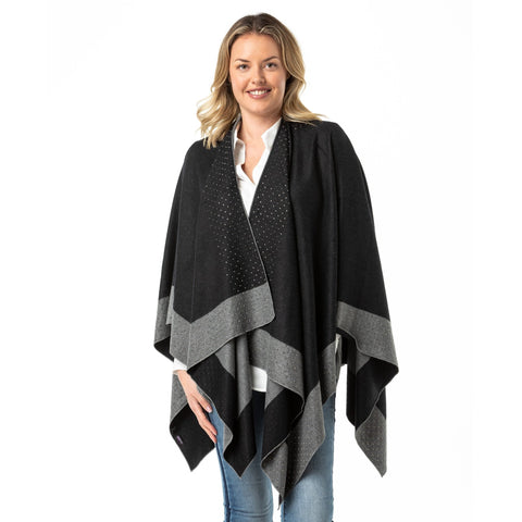 Black- Grey Cape Modal With Swarovski Crystals - Opal Merino