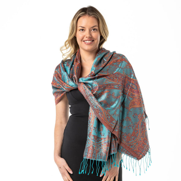 Bohemian Burnt Orange Pure Silk Shawl - Opal Merino