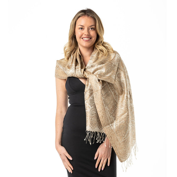 Cream Pure Silk Shawl - Opal Merino