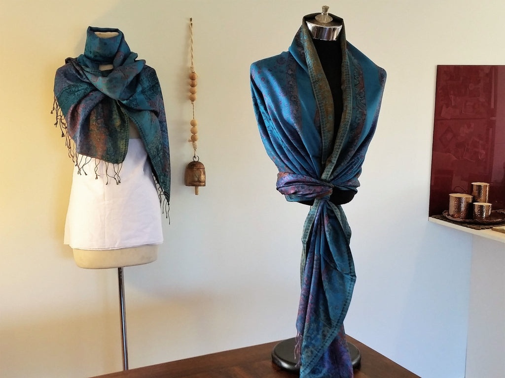 Double Sided Teal Classic' Silk Shawl - Opal Merino