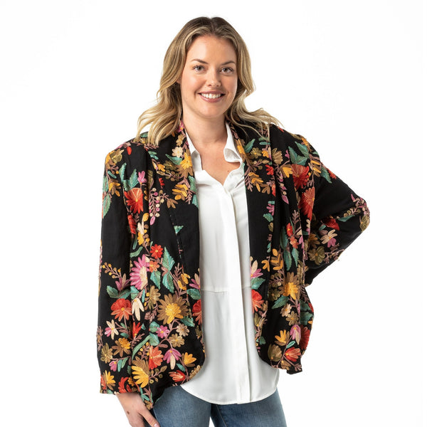 Embroidered Jacket Merino Wool Black Kash - Opal Merino
