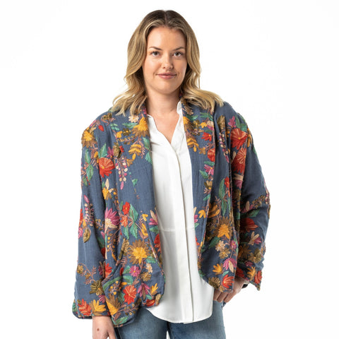 Embroidered Jacket Merino Wool Blue Kash - Opal Merino