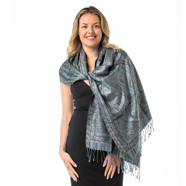 Gun Metal Grey Pure Silk Shawl - Opal Merino