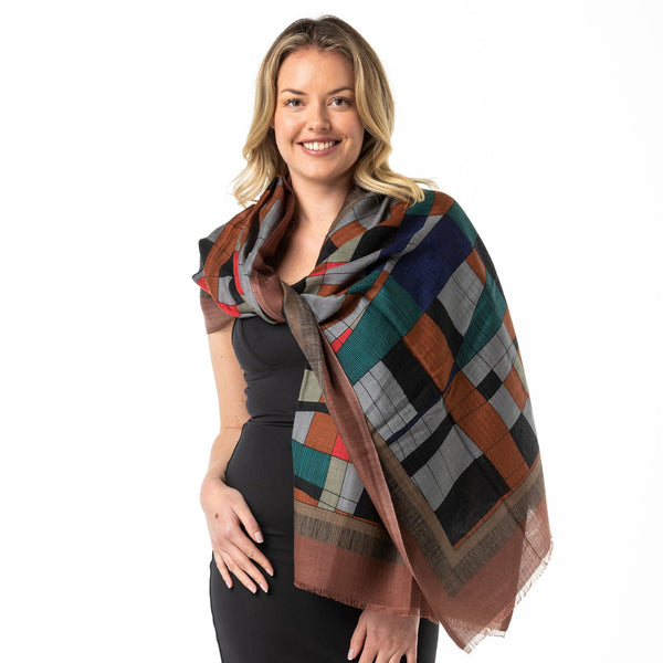 Indigenous Outback Colours' Merino Wool Shawl - Opal Merino