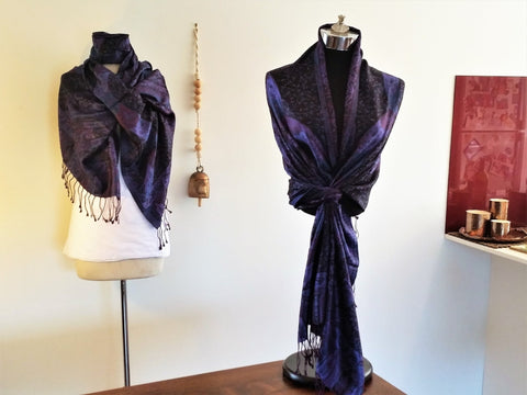 Jacaranda Purple Pure Silk Shawl - Opal Merino