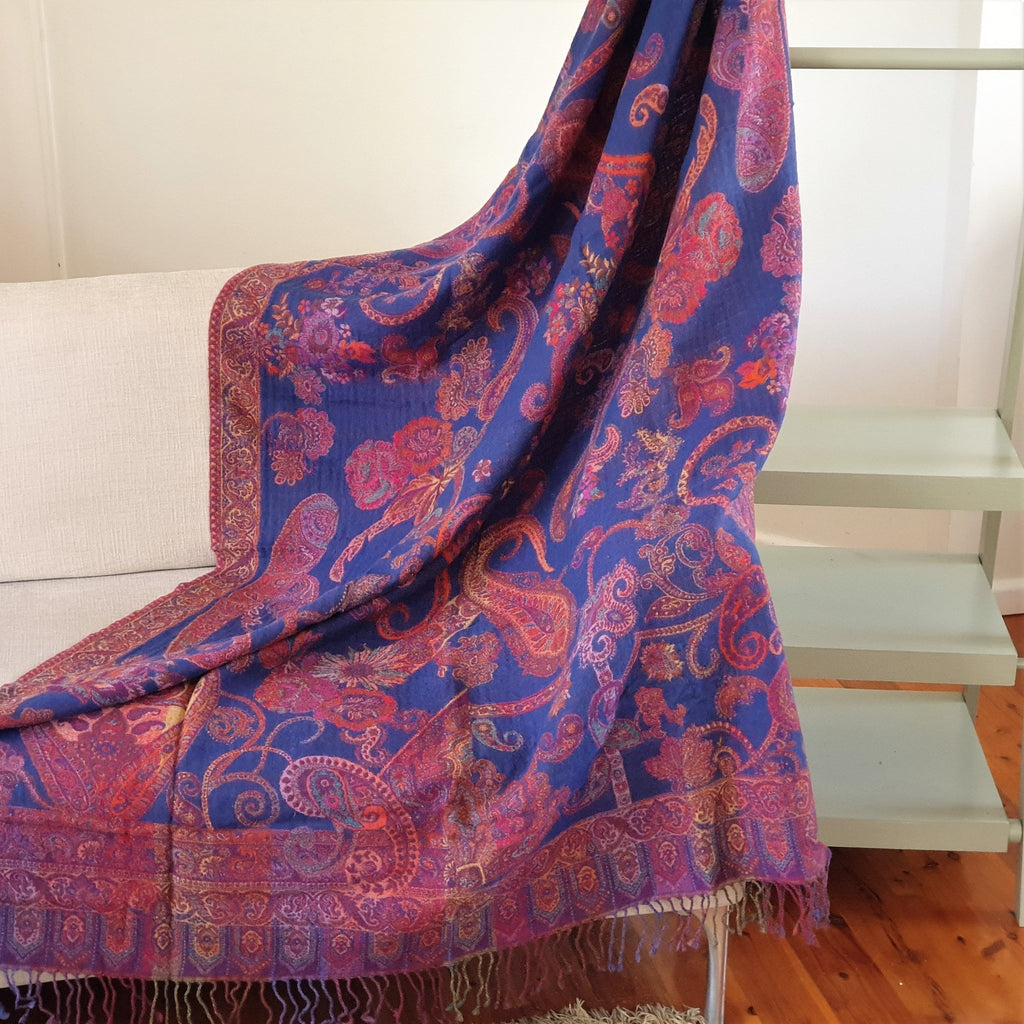 Merino Wool Blankets & Throws Blue Bouquet - Opal Merino