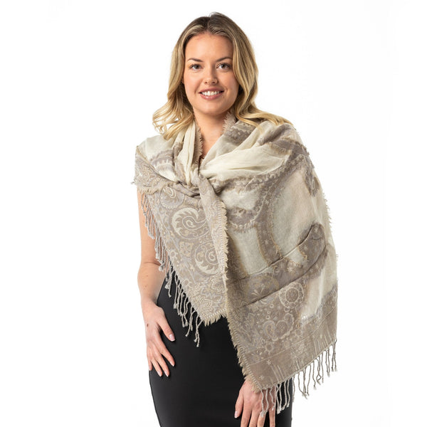 Neutral Fray Merino Wool Shawl - Opal Merino