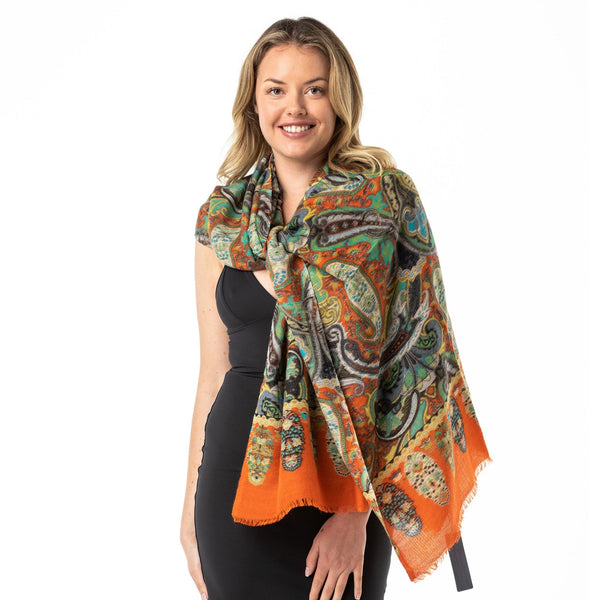 Orange Paisley Merino Wool/Silk Shawl - Opal Merino