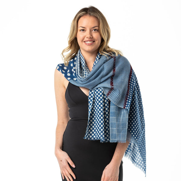 Polka Dot With Embroidery Merino Wool Shawl - Opal Merino