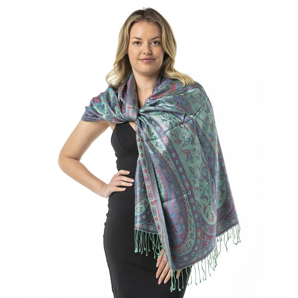 Pretty Mint Pure Silk Shawl - Opal Merino
