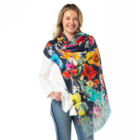 Pure Silk Shawl Event Wear Blue Poppy. - Opal Merino
