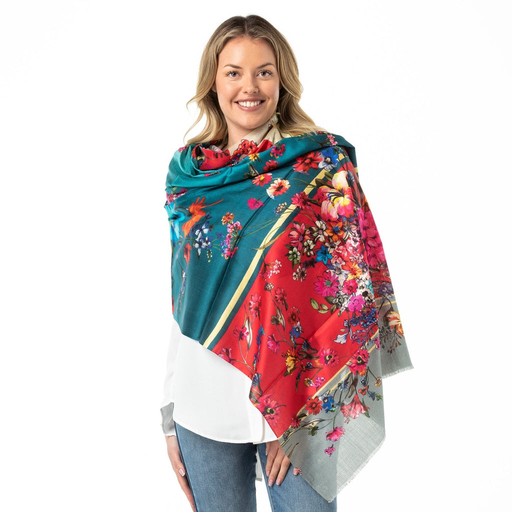 Pure Silk Shawl Teal Ombre Digital Print - Opal Merino