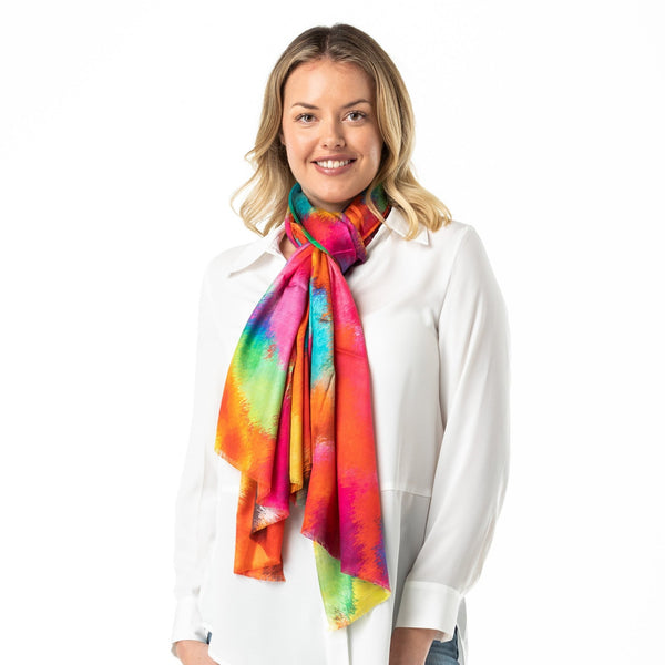 Pure Silk Wrap Abstract Pollock - Opal Merino