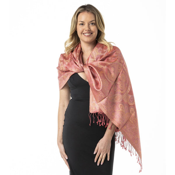 Rose Gold Pure Silk Shawl - Opal Merino