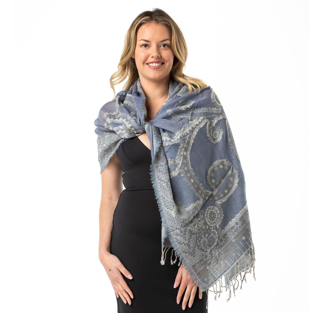 Steel Blue' Merino Wool Shawl - Opal Merino